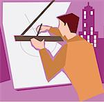 Architect making a blueprint Stock Photo - Premium Royalty-Free, Artist: imagebroker, Code: 645-02153690