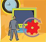 Rear view of a man by a big computer screen and clock Stock Photo - Premium Royalty-Free, Artist: Westend61, Code: 645-02153694