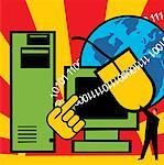 Computer with C.P.U. mouse and globe Stock Photo - Premium Royalty-Free, Artist: Glowimages               , Code: 645-02153709