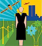 Front view of a woman standing in wind farm Stock Photo - Premium Royalty-Free, Artist: Arcaid, Code: 645-02153718