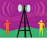 Communication tower with human figures and signals Stock Photo - Premium Royalty-Freenull, Code: 645-02153733