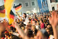 special moment - German Football Fans Cheering in the Streets, Salzburg, Salzburger Land, Austria    Stock Photo - Premium Rights-Managednull, Code: 700-02159121