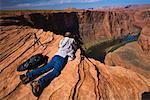 Man Photographing Horseshoe Bend, Arizona, USA