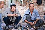 Men at Tackle Booth at Sunday Market, Kashgar, Xinjiang Autonomous Region, China    Stock Photo - Premium Rights-Managed, Artist: F. Lukasseck, Code: 700-02194009