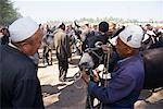 Men Inspecting Donkey at Sunday Market, Kashgar, Xinjiang Autonomous Region, China