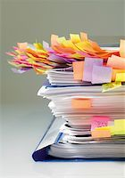 Files with sticky notes marking pages Stock Photo - Premium Royalty-Freenull, Code: 628-02198032