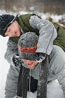 Father and Son Outdoors in Winter    Stock Photo - Premium Royalty-Freenull, Code: 600-02200063
