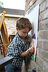 Boy Drawing Picture    Stock Photo - Premium Rights-Managed, Artist: Mark Peter Drolet, Code: 700-02200583