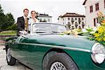 Bride and Groom in Convertible, Chamonix, Haute-Savoie, France    Stock Photo - Premium Rights-Managed, Artist: Patrick Chatelain, Code: 700-02200812