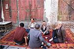 Men Drinking Tea on Rug, Kashgar, Xinjiang Province, China    Stock Photo - Premium Rights-Managed, Artist: F. Lukasseck, Code: 700-02200881