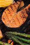 Salmon steak and vegetables on a barbecue Stock Photo - Premium Royalty-Free, Artist: Glowimages, Code: 659-02211835