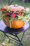 Pumpkin decorated with flowers on garden table Stock Photo - Premium Royalty-Free, Artist: Yvonne Duivenvoorden, Code: 659-02214127