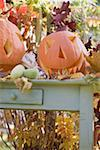 Autumnal garden decoration with pumpkins Stock Photo - Premium Royalty-Freenull, Code: 659-02214135