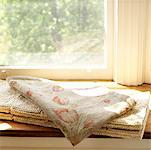Folded Fabric and Rug on Window Ledge    Stock Photo - Premium Rights-Managed, Artist: Natasha Nicholson, Code: 700-02217053