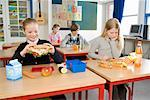 Students Eating Lunch in Classroom    Stock Photo - Premium Rights-Managed, Artist: Anders Hald, Code: 700-02217437