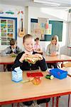 Students Eating Lunch in Classroom    Stock Photo - Premium Rights-Managed, Artist: Anders Hald, Code: 700-02217462