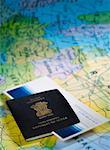 Close-up of an Indian passport with an airline ticket on a map Stock Photo - Premium Royalty-Free, Artist: Cusp and Flirt, Code: 630-02221098