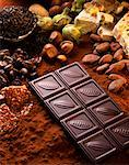 Chocolate bar,nougatand a selection of nuts Stock Photo - Premium Royalty-Free, Artist: Photocuisine, Code: 652-02221718