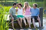 People Sitting on Dock    Stock Photo - Premium Rights-Managed, Artist: Michael A. Keller, Code: 700-02222892