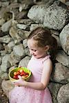 Portrait of Girl with Bowl of Cherries    Stock Photo - Premium Rights-Managed, Artist: John Ferrentino, Code: 700-02231859