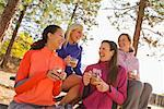 Group of Women Hanging Out, Drinking Coffee in the Methow Valley Near Mazama, Washington, USA