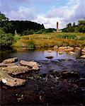 Chapel of Saint Kevin at Glendalough and round tower, Glendalough, Co. Wicklow, Ireland    Stock Photo - Premium Rights-Managed, Artist: IIC, Code: 832-02252739