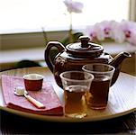 Teapot on Tray with Glasses    Stock Photo - Premium Rights-Managed, Artist: Natasha Nicholson, Code: 700-02264120