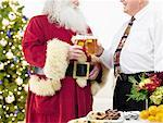 Man Drinking Beer With Santa Claus at Christmas Party    Stock Photo - Premium Rights-Managed, Artist: Philip Rostron, Code: 700-02264289