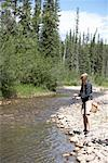 Woman Fishing in Chambers Creek, Alberta, Canada    Stock Photo - Premium Royalty-Free, Artist: John Lee, Code: 600-02264448