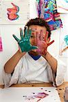 Portrait of Boy With Paint on His Hands    Stock Photo - Premium Rights-Managed, Artist: Marden Smith, Code: 700-02264852
