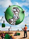 Construction Workers Building a Globe    Stock Photo - Premium Rights-Managed, Artist: Marc Simon, Code: 700-02264966