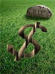 Dollar Sign and Tombstone    Stock Photo - Premium Rights-Managed, Artist: Marc Simon, Code: 700-02265001
