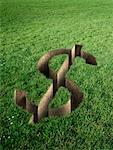 Dollar Sign Cut Out in Field of Grass    Stock Photo - Premium Rights-Managed, Artist: Marc Simon, Code: 700-02265002