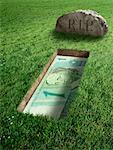 Brazilian Currency and Tombstone    Stock Photo - Premium Rights-Managed, Artist: Marc Simon, Code: 700-02265009