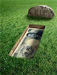 Japanese Currency and Tombstone    Stock Photo - Premium Rights-Managed, Artist: Marc Simon, Code: 700-02265017