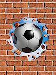 Soccer Ball Smashing Through Brick Wall    Stock Photo - Premium Rights-Managed, Artist: Marc Simon, Code: 700-02265039