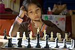 Girl Playing Chess, Portland, Oregon    Stock Photo - Premium Rights-Managed, Artist: Mark Downey, Code: 700-02265164