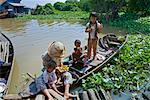 Mother and Children on Boat, Chong Khneas, Tonle Sap Lake, Cambodia    Stock Photo - Premium Rights-Managed, Artist: J. A. Kraulis, Code: 700-02265601
