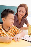 Female teacher teaching her student in a classroom Stock Photo - Premium Royalty-Freenull, Code: 625-0226653