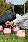Woman on Grass with Piggy Banks    Stock Photo - Premium Rights-Managed, Artist: Leonardo, Code: 700-02289313