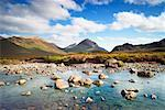 River Through Heather Moorland, Cuillin Hills, Isle of Skye, Inner Hebrides, Scotland    Stock Photo - Premium Rights-Managed, Artist: Tim Hurst, Code: 700-02289382