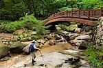 Hiker by Bridge over Creek in Park, Seoul, South Korea    Stock Photo - Premium Rights-Managed, Artist: R. Ian Lloyd, Code: 700-02289604