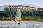 Windsurfer in Front of Olympic Stadium, Han River, Seoul, South Korea    Stock Photo - Premium Rights-Managed, Artist: R. Ian Lloyd, Code: 700-02289644
