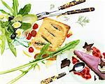 Menu : salad,salmon pie and summer fruit tart    Stock Photo - Premium Rights-Managed, Artist: Photocuisine, Code: 825-02302615