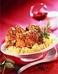 Veal osso-bucco with polenta    Stock Photo - Premium Rights-Managed, Artist: Photocuisine, Code: 825-02304240