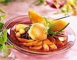 Carpaccio of peaches poached in wine and spices with melon sorbet    Stock Photo - Premium Rights-Managed, Artist: Photocuisine, Code: 825-02304297