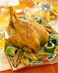 roast capon with braised chicory and truffle sushi    Stock Photo - Premium Rights-Managed, Artist: Photocuisine, Code: 825-02304566