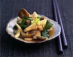 Steamed bamboo shoots with seaweed and pleurotus mushrooms    Stock Photo - Premium Rights-Managed, Artist: Photocuisine, Code: 825-02304897