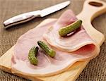slice of white ham with gherkins    Stock Photo - Premium Rights-Managed, Artist: Photocuisine, Code: 825-02305751