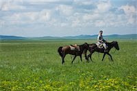 Horseman Leading Horse, Inner Mongolia, China    Stock Photo - Premium Rights-Managednull, Code: 700-02314934
